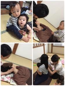 赤ちゃんと一緒にマッサージ